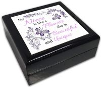 My (Relation) is Like A Flower Black Square Jewellery Box
